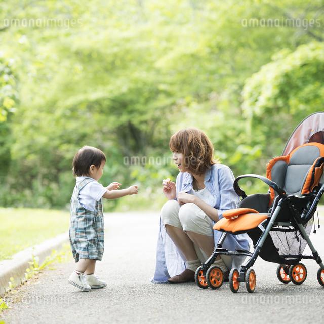 公園で子供と遊ぶ母親の写真素材 [FYI04552978]
