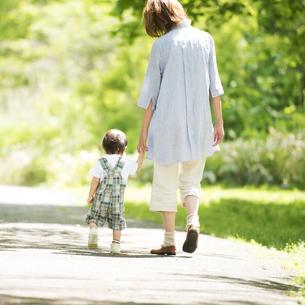 手をつなぎ散歩をする親子の後姿の写真素材 [FYI04552991]