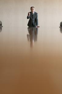 会議室でガッツポーズをするビジネスマンの写真素材 [FYI04553149]