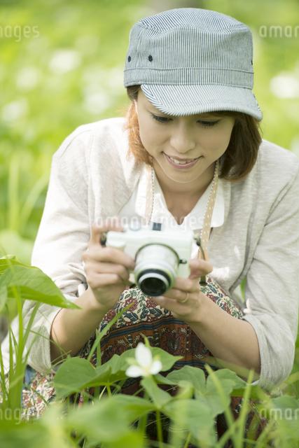 ミラーレス一眼カメラで植物の写真を撮る女性の写真素材 [FYI04553224]