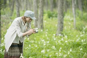 ミラーレス一眼カメラで植物の写真を撮る女性の写真素材 [FYI04553260]
