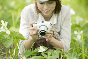 ミラーレス一眼カメラで植物の写真を撮る女性の写真素材 [FYI04553263]
