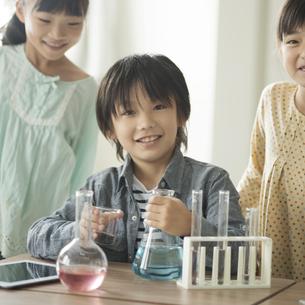 実験をする小学生の写真素材 [FYI04553638]