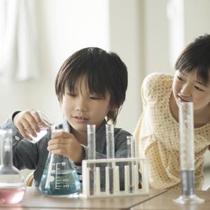 実験をする小学生の写真素材 [FYI04553645]
