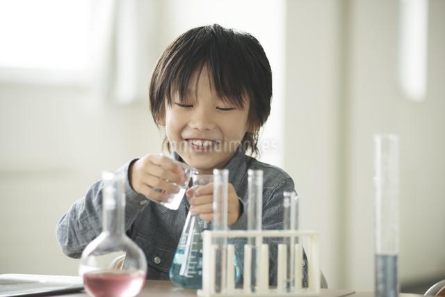 実験をする小学生の写真素材 [FYI04553648]