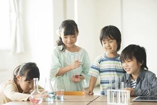 実験をする小学生の写真素材 [FYI04553687]