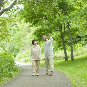 新緑の中を歩くシニア夫婦の写真素材 [FYI04553777]