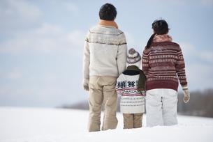 雪原で手をつなぐ家族の後姿の写真素材 [FYI04553872]