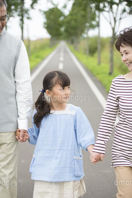 手をつなぎ微笑む祖父母と孫の写真素材 [FYI04554141]