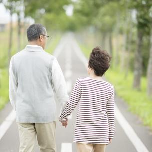 手をつなぎ一本道を歩くシニア夫婦の後姿の写真素材 [FYI04554225]
