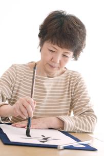 書道をするシニア女性の写真素材 [FYI04554366]