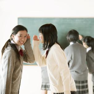黒板の前で内緒話をする中学生の写真素材 [FYI04554458]