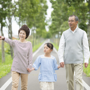 一本道で手をつなぐ祖父母と孫の写真素材 [FYI04554643]