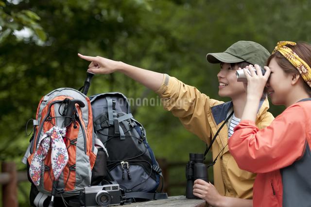 バードウォッチングをするカップルの写真素材 [FYI04554824]
