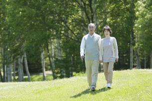草原を歩くシニア夫婦の写真素材 [FYI04554915]