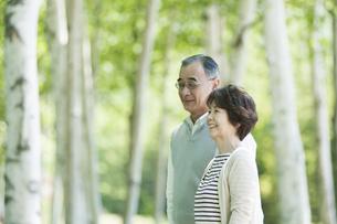 森林の中で微笑むシニア夫婦の写真素材 [FYI04554926]