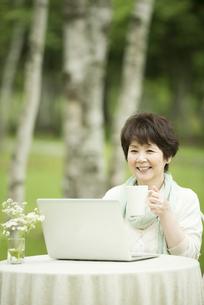パソコンをするシニア女性の写真素材 [FYI04555175]