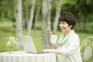 パソコンをするシニア女性の写真素材 [FYI04555184]