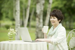 パソコンをするシニア女性の写真素材 [FYI04555185]