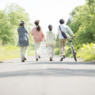 一本道を歩く大学生の後姿の写真素材 [FYI04555236]