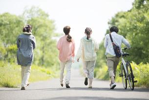 一本道を歩く大学生の後姿の写真素材 [FYI04555246]