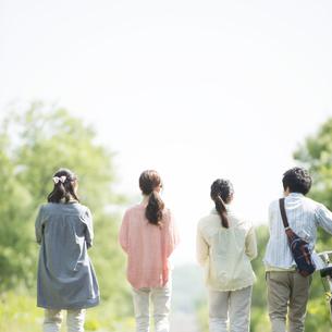 4人の大学生の後姿の写真素材 [FYI04555255]