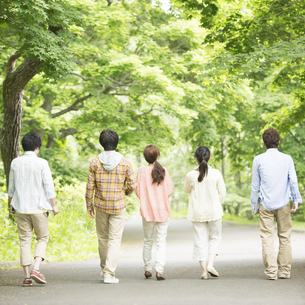 新緑の中を歩く大学生の後姿の写真素材 [FYI04555406]