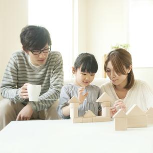 積み木で遊ぶ親子の写真素材 [FYI04555454]