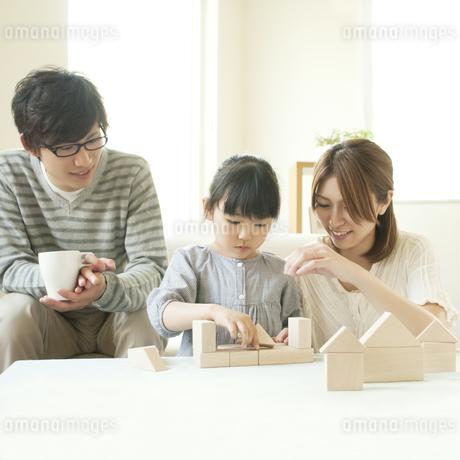積み木で遊ぶ親子の写真素材 [FYI04555455]