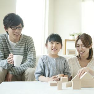 積み木で遊ぶ親子の写真素材 [FYI04555457]
