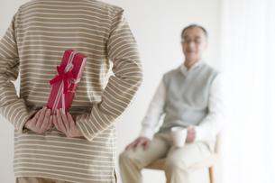 夫へのプレゼントを持つシニア女性の後姿の写真素材 [FYI04555529]