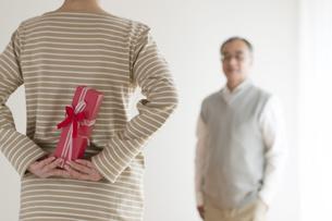夫へのプレゼントを持つシニア女性の後姿の写真素材 [FYI04555534]