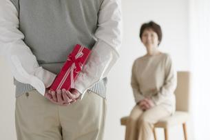 妻へのプレゼントを持つシニア男性の後姿の写真素材 [FYI04555535]