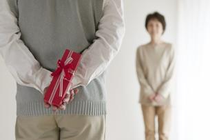 妻へのプレゼントを持つシニア男性の後姿の写真素材 [FYI04555536]