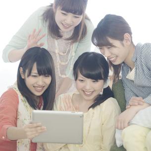 タブレットPCを見る4人の女性の写真素材 [FYI04555935]