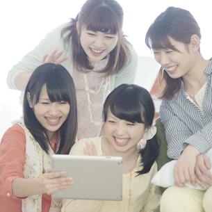 タブレットPCを見る4人の女性の写真素材 [FYI04555938]