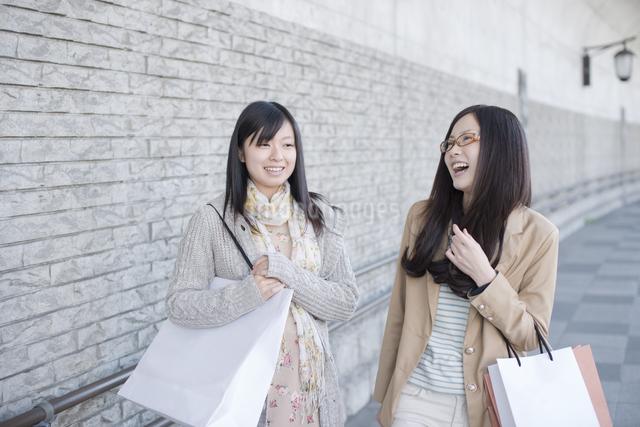 ショッピングバッグを持ち談笑をする2人の女性の写真素材 [FYI04556169]