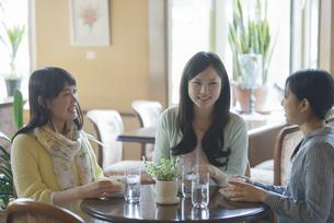 カフェで談笑をする女性の写真素材 [FYI04556265]
