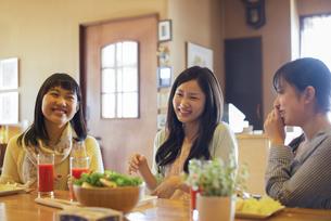 カフェで談笑をする女性の写真素材 [FYI04556281]