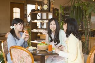 カフェで談笑をする女性の写真素材 [FYI04556289]