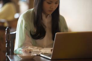 ティーカップとパソコン操作をする女性の写真素材 [FYI04556324]