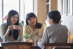カフェで談笑をする女性の写真素材 [FYI04556329]