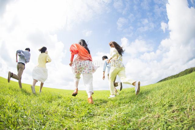 草原を走る大学生の後姿の写真素材 [FYI04556398]