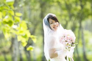 ブーケを持ち微笑む花嫁の写真素材 [FYI04556706]