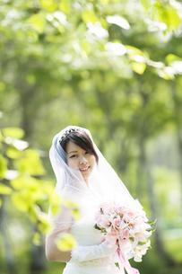 ブーケを持ち微笑む花嫁の写真素材 [FYI04556707]