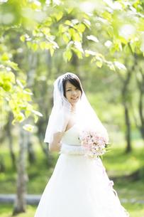 ブーケを持ち微笑む花嫁の写真素材 [FYI04556715]