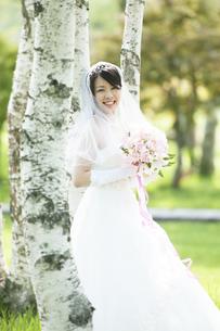 ブーケを持ち微笑む花嫁の写真素材 [FYI04556731]