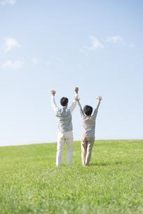 草原で両手を挙げるシニア夫婦の後姿の写真素材 [FYI04557167]