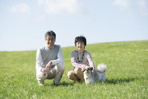草原で微笑むシニア夫婦と犬の写真素材 [FYI04557214]