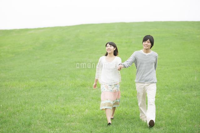 草原で手をつなぐカップルの写真素材 [FYI04557243]